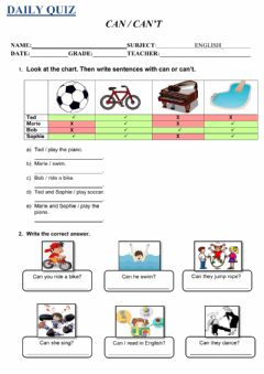 Interactive worksheet Can - can't