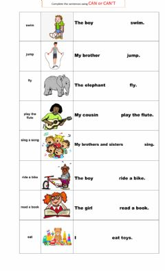 Interactive worksheet CAN - CAN´T PRACTICE
