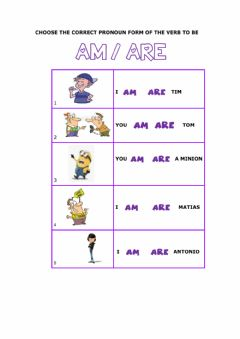 Interactive worksheet Verb to be: I - You