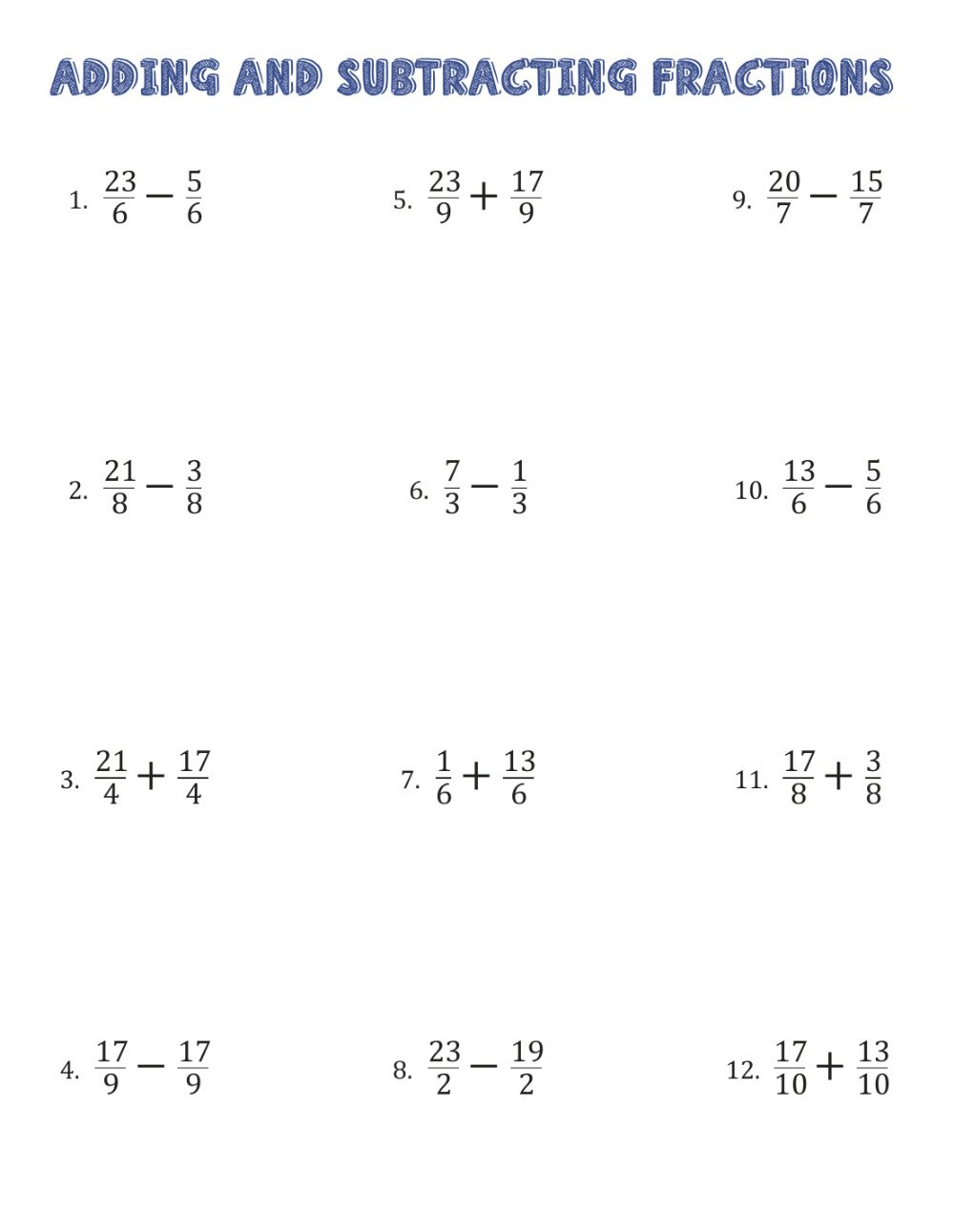 Operations With Fractions Worksheet Adding dissimilar fractions worksheet