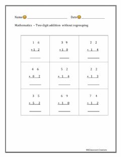 Interactive worksheet Two digit addition - without regrouping