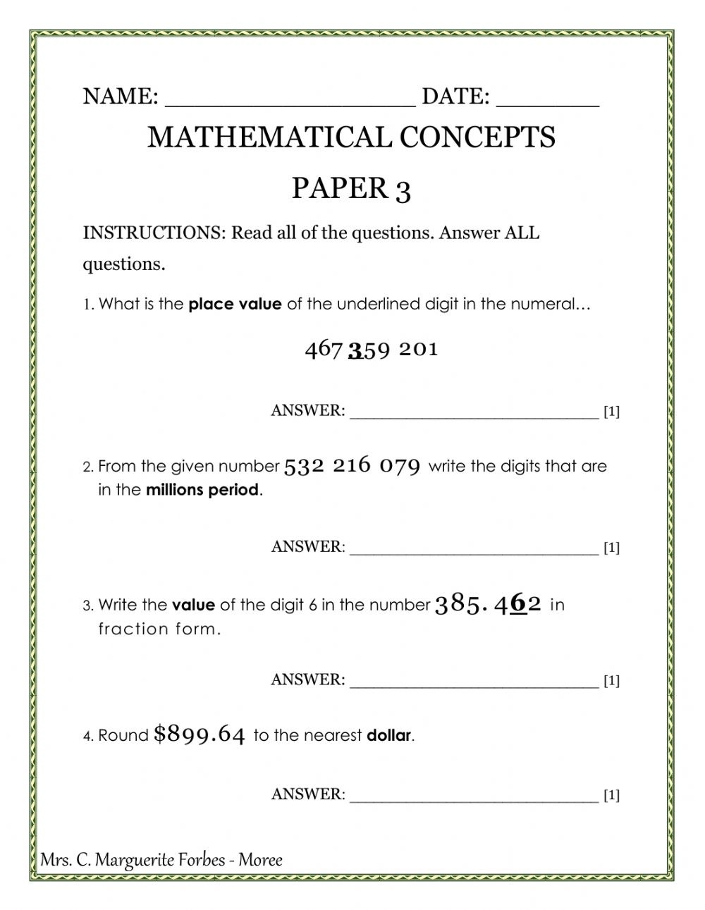 Mathematical Concepts Paper 3 Worksheet