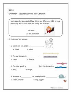 Interactive worksheet Adjectives that compare using -er