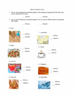 Interactive worksheet Mixture and Solution Quiz