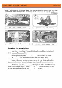 Interactive worksheet Year 5- unit 7 king's decision (writing)