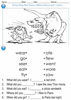 Interactive worksheet Krazy King Past Tense - Where did you go?  I went… - Past Pattern 1