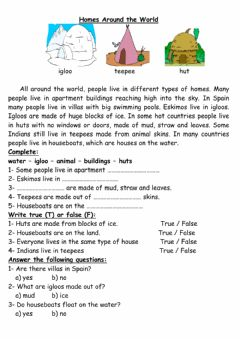 Interactive worksheet Unusual homes