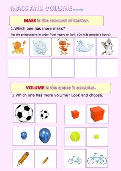 Interactive worksheet Mass and volume
