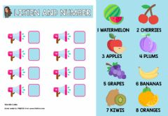 Interactive worksheet Listen and number fruits
