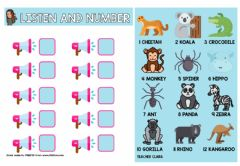 Interactive worksheet Listen and number animals