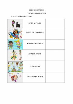 Interactive worksheet Leisure activities
