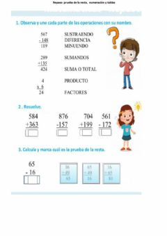 Interactive worksheet Prueba de resta