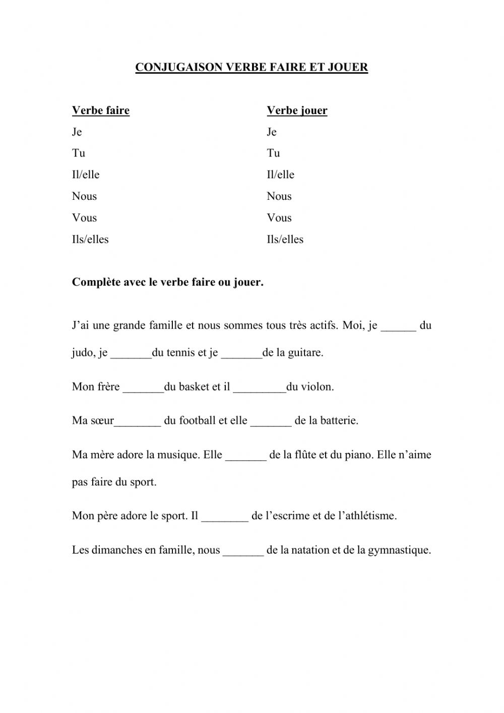 Verbe Faire Et Jouer Interactive Worksheet