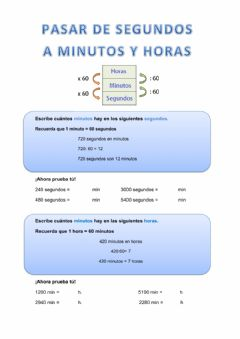 Interactive worksheet Pasar de segundos a minutos y horas