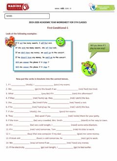 Ficha interactiva 5th Grades IF CLAUSES TYPE-1 Worksheet-1