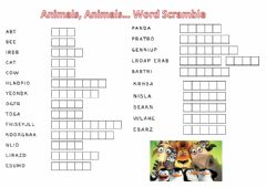 Interactive worksheet Animals, Animals... Wordsearch