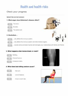 Interactive worksheet Health and health risks