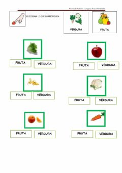 Interactive worksheet ¿fruta o verdura?