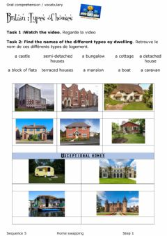 Interactive worksheet Listening types of dwellings