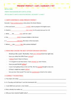 Interactive worksheet Present perfect just already yet