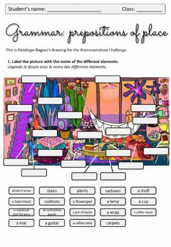Interactive worksheet Prepositions of place and objects in a room