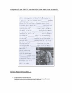 Interactive worksheet Complete the text and sentences with Present Simple