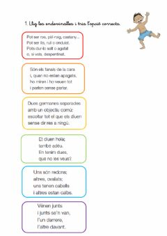 Interactive worksheet Endevinalles parts del cos