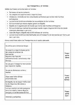 Interactive worksheet Transportes y turismo