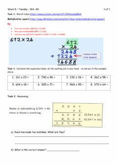 Interactive worksheet Multiplication - Tuesday