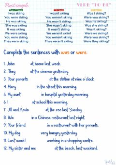 Interactive worksheet Past simple of be-affirmative by Mariola
