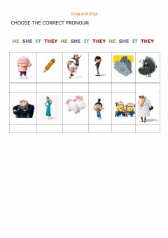 Interactive worksheet Pronouns- he she it they