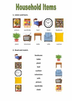Ficha interactiva Household items