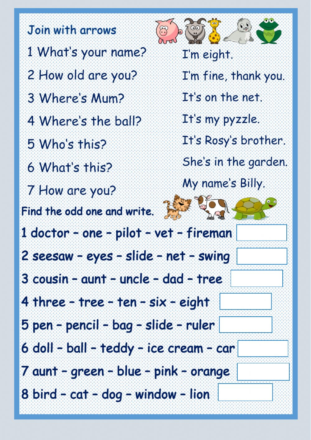 Ask and answer questions worksheet