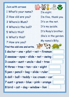Interactive worksheet Ask and answer questions