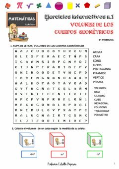 Interactive worksheet Volumen de cuerpos geométricos
