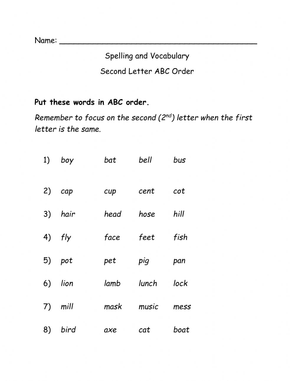 Abc Order 2nd Letter Worksheet