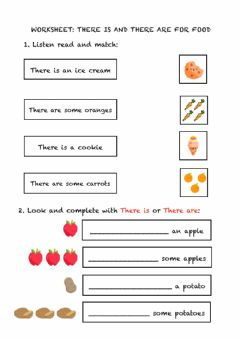 Interactive worksheet There is-are for FOOD