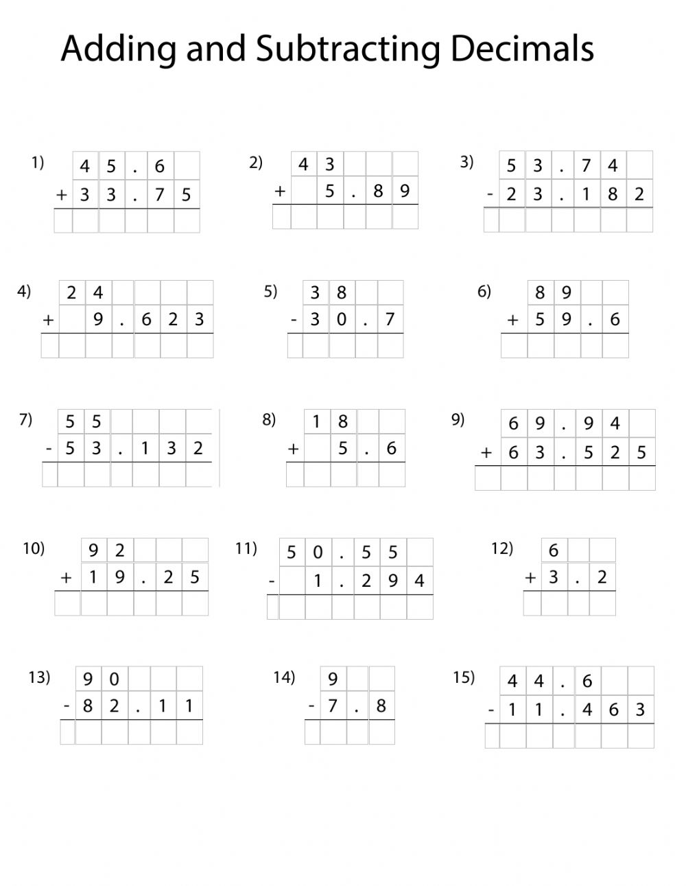 - Adding And Subtracting Decimals - Interactive Worksheet