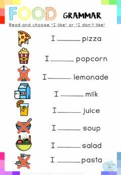 Interactive worksheet Read and choose -I like- or -I don't like-