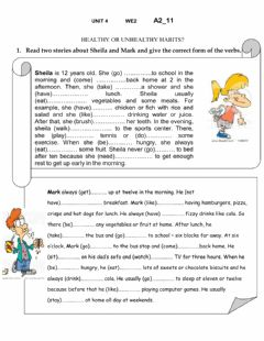 Interactive worksheet Unhealthy or healthy