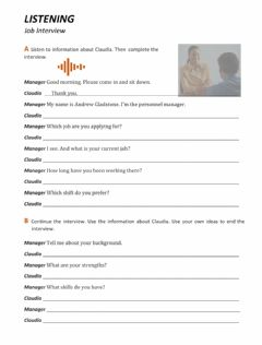 Interactive worksheet Job Interview: Listening