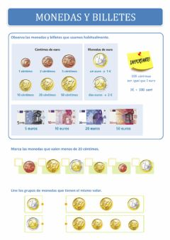 Interactive worksheet Monedas y billetes