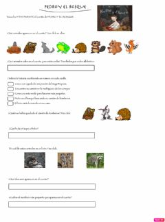 Interactive worksheet Pedro y el bosque