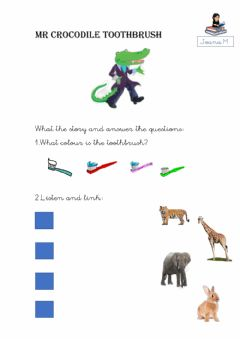 Interactive worksheet Mr crocodile toothbrush