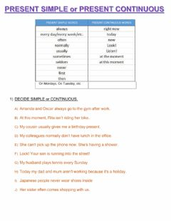 Interactive worksheet Present simple or continuous