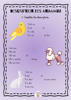 Interactive worksheet Description des animaux
