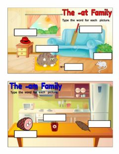 Interactive worksheet Word Families(-at,-am)