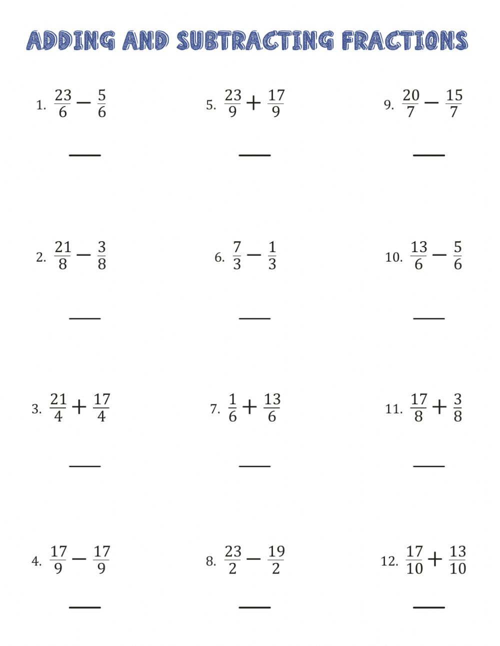 Operations with fractions interactive worksheet