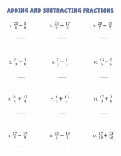 Ficha interactiva Operations with fractions