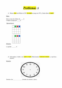 Interactive worksheet Problemas doble, mitad y hora.